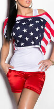 DAMEN 2 in 1 SHIRT + TOP UNI TOP KURZES SHIRT USA CARMEN SHIRT OneSize