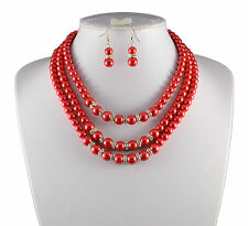 3 TIERED RED GLASS  PEARL & DIAMANTE RHINESTONE CRYSTAL NECKLACE & EARRINGS