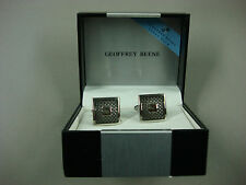 NWT Men's Geoffrey Beene Cuff Links Square Silver Color #326B