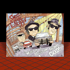 New THE BLUES BROTHERS artist signed POSTER ART, movie, snl, JAKE & ELWOOD 1980