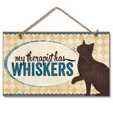 Novelty-Fun Wood Sign-Plaque--CAT-My Therapist has Whiskers