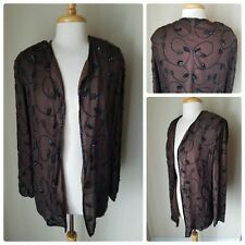 JMD New York Brown Sheer Beaded Embroidered 100% Silk Open Front Jacket Shrug 3X