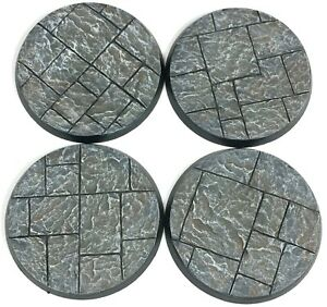 Stone City - Round Resin Bases 50 mm - 4 Painted/Unpainted Bases for Warhammer