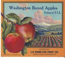 Washington Boxed Apples Original Wenatchee Washington Apple Crate Label