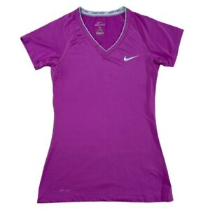 NIKE Pro Womens Run Shirt Gym Workout Magenta Pink Fitted Stretch Size Small