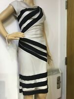 NEW REISS RUCHED EMBELLISHED DRESS SIZE UK 10 US 6 BLACK  CREAM