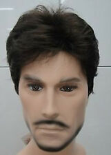 Dark Brown Short Curly Menfolk Man Men Male Daily Wear Hair Wigs wig