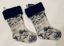 "2 Toile Vintage Style Holiday Christmas Stockings Black/White 20"" Threshold"