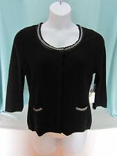 Tweeds Cardigan Sweater womans XL Black with Silver Braid  All :Merino Wool NWT