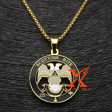 Stainless Steel Gold Plated Masonic Scottish Rite 32nd Degree Pendant 3MM 24inch