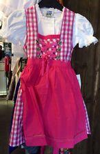 Kinderdirndl, Dirndl, inkl Bluse, pink, rosa Gr 92, Mädchen, kariert, Tracht