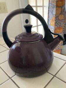 LE CREUSET CASSIS Tea Kettle, Enamel Coated Steel, Purple Eggplant 1.6 Quarts