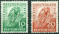 Alliierte Besetzung Bizone 106 - 107 sauber postfrisch Radrennen 1949 Fahrrad