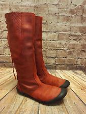 Womens Vertbaudet Red Leather Zip Up Low Heel Long Boots UK 4 EU 37