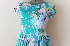 Vintage Floral Carol Anderson Flowers Summer Spring Sleeveless Cotton Long Dress