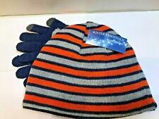 Nwt Boys Knit Beanie & Stretch Gloves Set Striped Gray Blue Orange Sz 4-7