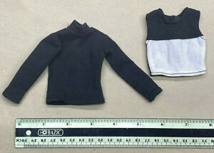 "1/6 scale or 12"" figure clothing female slim skinny black long sleeve shirt set"