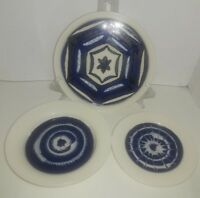 Set of 3 White and Cobalt Decorative Pottery Plates