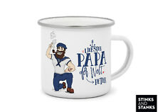Emaille Becher Camping Metall Papa Vater mit Name MB009