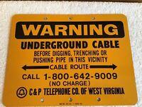 WOW! Vintage Old C & P Telephone WARNING Metal Sign Yellow Black West Virginia