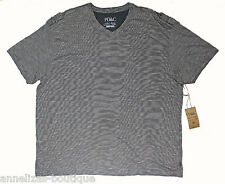 PD&C Mens BIG-TALL 5X T-Shirt Charcoal Short Sleeve V-Neck Cotton NWT