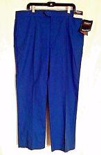 Farah Press Men's Dress Pants Slacks Pleated Blue 42x30 Cotton Darcon Polyester