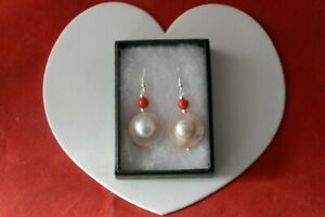 Beautiful Earrings With Mother Of Pearls & Red Coral 3.5 Cm. Long + Silver Hooks