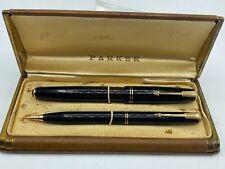 Vintage PARKER VACUMATIC Fountain pen Pencil set Double Jewels Near Mint WORKS