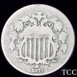 1873 SHIELD NICKEL 5c ~ AWESOME ORIGINAL COIN ~ SCARCE DATE ~ TCC