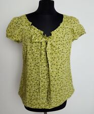 Monsoon ladies green pindot ruffle bow short balloon sleeve cotton summer top 12