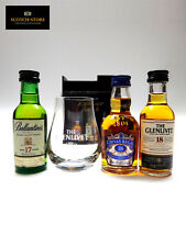 Exclusive Scotch Mini Set 3 Whisky Miniaturen 17, 18 Jahre + Glas in Geschenkbox