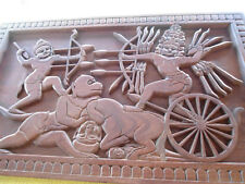 panneau ancien en teck sculpté massif art khmer 1m sur 60cm