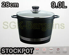 INDUCTION BASE HOB DIE CAST STOCK STEW COOKING PAN POT STOCKPOT GLASS LID 28CM