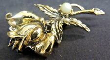 Vintage Goldtone Brooch Pin Antique Style Rose Pearl Detailed Flower Art Nouveau