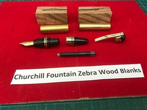 Churchill Fountain Pen Kit in Gold with, Drilled Zebra Wood Blanks No Bushes