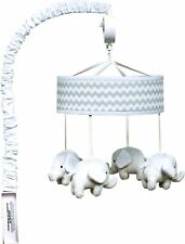 Baby Crib Musical Mobile Chevron Canopy Grey Hanging Stuffed Elephant Decor Toy