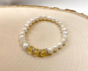November Birthstone Bracelet Topaz Yellow Freshwater Pearl Stretch Bracelet