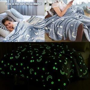 Moon & Stars Luminous Throw Blanket Soft Flannel Glow In Dark Blanket Nap Cover