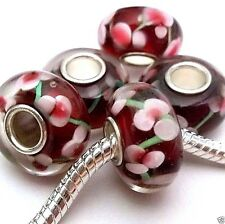 Lot of 5 European Charm Lampwork Beads Single Core Drk Red Z51 Ships from USA