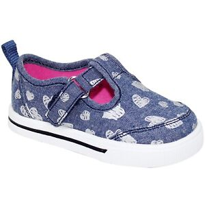 WONDER NATION Baby Girl's size 4 -or- 6 SNEAKERS Blue/Hearts ~ New with Tags