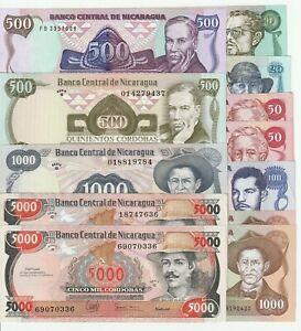 Nicaragua ( 1985-1985 ) 10~5000 Cordobas XF~UNC 12 Pcs