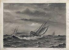 SEGELSCHIFFE IM STURM 1879 JACOB H. ISBRANDTSEN - USA ANTIQUE MARINE PAINTING