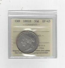 **1881H**, ICCS Graded Canadian Silver 50 Cent, **EF-45**