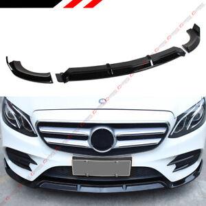 FOR 16-19 MERCEDES BENZ W213 E-CLASS GLOSS BLACK 3PC VIP STYLE FRONT BUMPER LIP