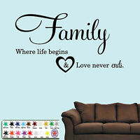 Wall Quote Family Where Life Begins - Vinyl Sticker, Wall Art, Mural, Home Decal