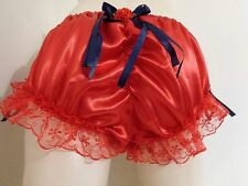 ADULT SISSY FRILLY SATIN RED GATHERED BIKINI PANTIES BLOOMER DRESS UP MEN GIRL