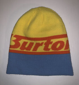 Burton Snowboard Ski Hat Beanie Reversible Blue Yellow Striped Men Unisex OSFA
