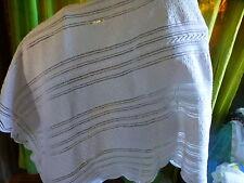 1m,85x1,55 plaid vintage ou dessus de lit,blanc coton ,fait main aux aiguilles