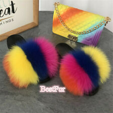 2020 Max Large XXL Real Fox Fur Slides Womens Sliders Slippers Sandals Shoes