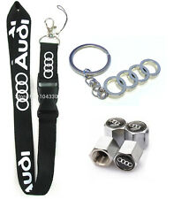 Audi Lanyard + Metal Key chain + Stem Valve Gift - A3 A4 A5 A6 A7 S4 S3 S5 RS